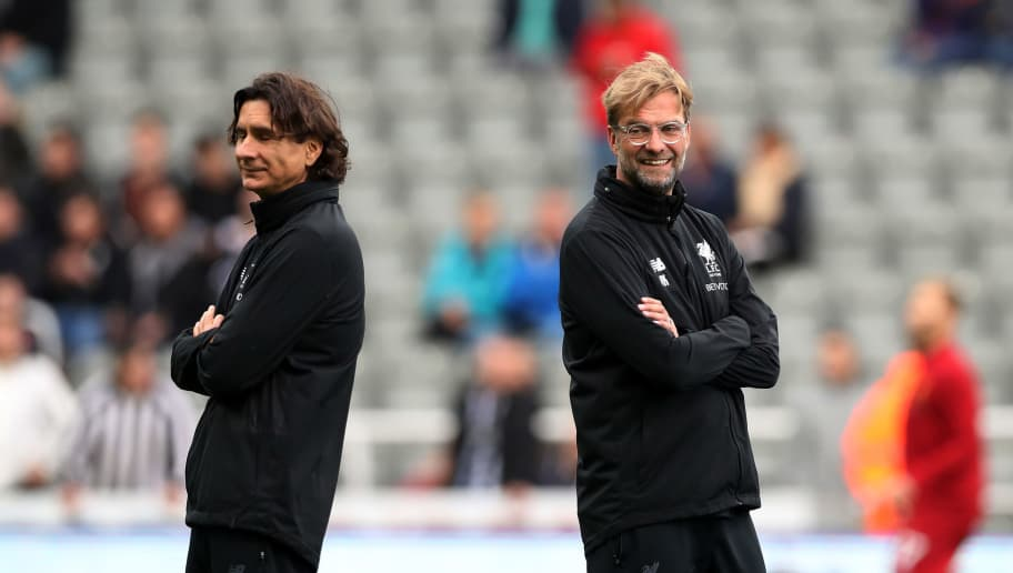 NEWCASTLE UPON TYNE, ENGLAND - OCTOBER 01:  Jurgen Klopp, Manager of Liverpool speaks to Zeljko Buvac, Liverpool assistant manager prior to the Premier League match between Newcastle United and Liverpool at St. James Park on October 1, 2017 in Newcastle upon Tyne, England.  (Photo by Ian MacNicol/Getty Images)