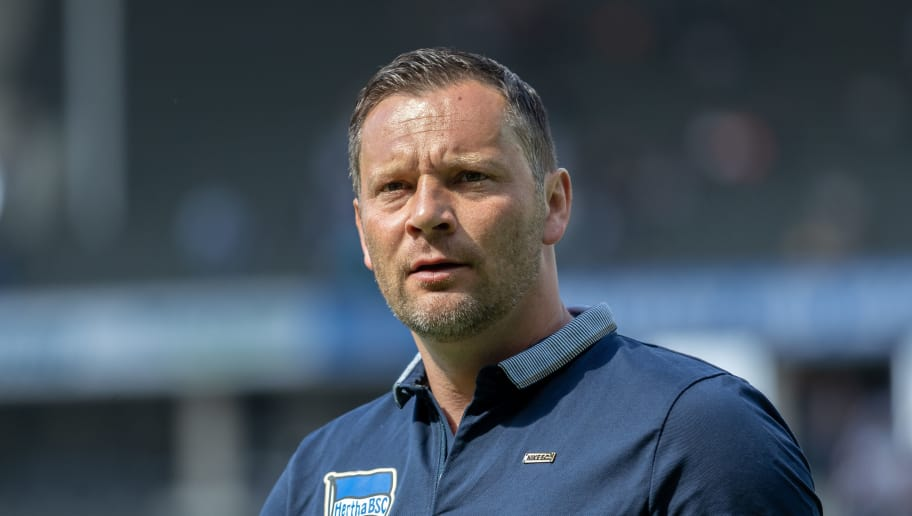 BERLIN, GERMANY - APRIL 28: Head coach Pal Dardai of Hertha BSC looks on prior to the Bundesliga match between Hertha BSC and FC Augsburg at Olympiastadion on April 28, 2018 in Berlin, Germany. (Photo by Boris Streubel/Bongarts/Getty Images)