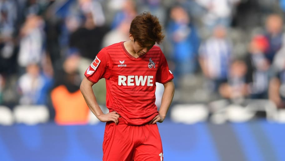 BERLIN, GERMANY - APRIL 14:  Yuya Osako of Cologne looks dejected after the Bundesliga match between Hertha BSC and 1. FC Koeln at Olympiastadion on April 14, 2018 in Berlin, Germany.  (Photo by Stuart Franklin/Bongarts/Getty Images)