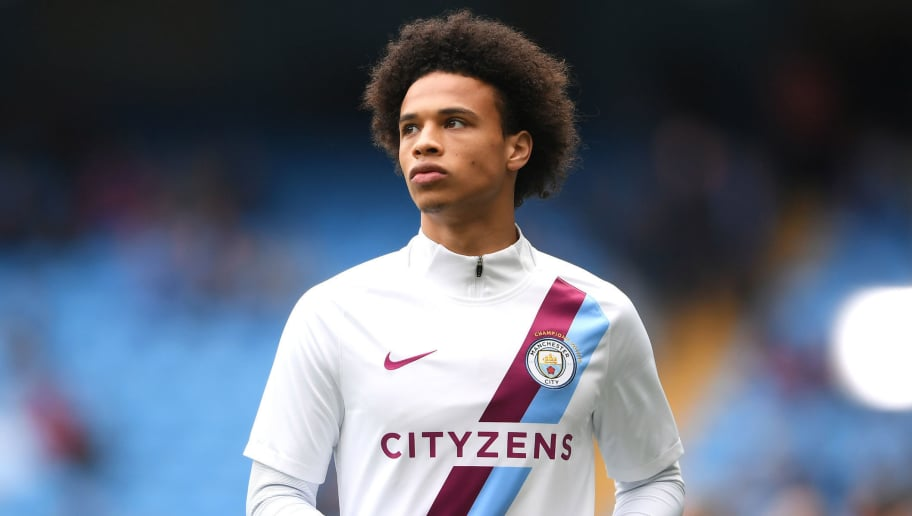 MANCHESTER, ENGLAND - APRIL 22:  Leroy Sane of Manchester City warms up ahead of the Premier League match between Manchester City and Swansea City at Etihad Stadium on April 22, 2018 in Manchester, England.  (Photo by Laurence Griffiths/Getty Images)
