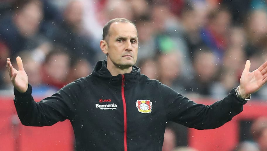 LEVERKUSEN, GERMANY - APRIL 28: Heiko Herrlich, coach of Bayer Leverkusen, gestures during the Bundesliga match between Bayer 04 Leverkusen and VfB Stuttgart at BayArena on April 28, 2018 in Leverkusen, Germany. (Photo by Christof Koepsel/Bongarts/Getty Images)