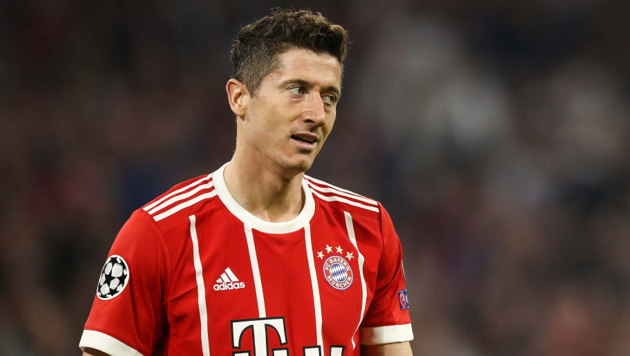 MUNICH, GERMANY - APRIL 25: Robert Lewandowski #9 of Bayern Munich reacts during the UEFA Champions League Semi Final First Leg match between Bayern Muenchen and Real Madrid at the Allianz Arena on April 25, 2018 in Munich, Germany. (Photo by Maja Hitij/Bongarts/Getty Images)