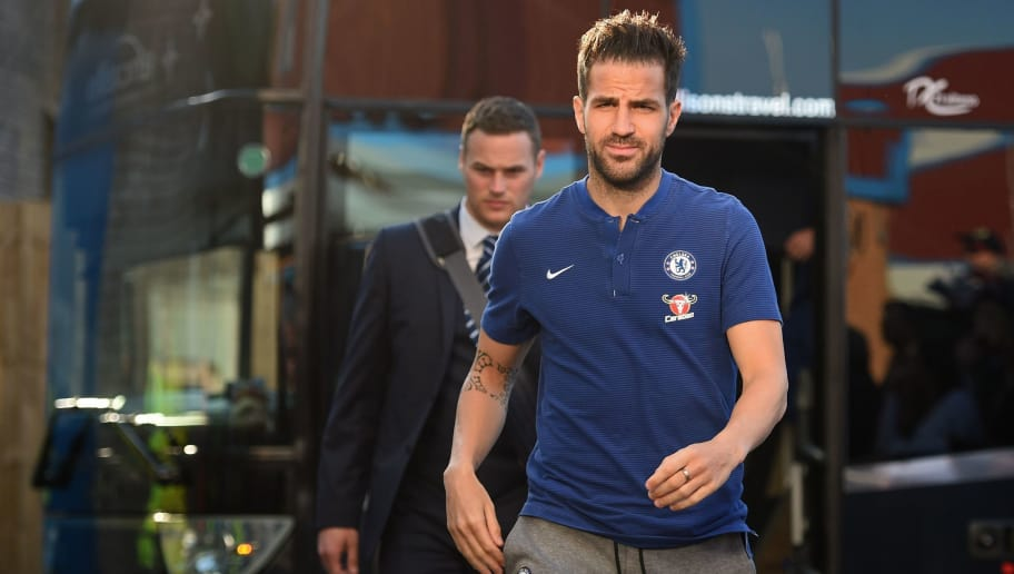 Chelsea's Spanish midfielder Cesc Fabregas arrives for the English Premier League football match between Burnley and Chelsea at Turf Moor in Burnley, north west England on April 19, 2018. (Photo by Oli SCARFF / AFP) / RESTRICTED TO EDITORIAL USE. No use with unauthorized audio, video, data, fixture lists, club/league logos or 'live' services. Online in-match use limited to 75 images, no video emulation. No use in betting, games or single club/league/player publications. /         (Photo credit should read OLI SCARFF/AFP/Getty Images)
