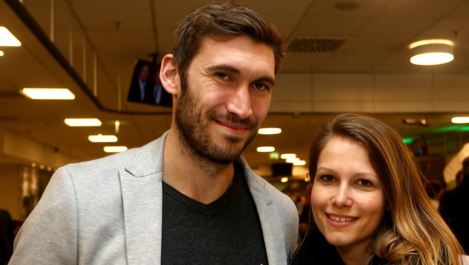 DORTMUND, GERMANY - MARCH 22:   (L-R) Stefan Reinartz and wife Gianna pose during the Club of Former National Players Meeting at Signal Iduna Park on March 22, 2017 in Dortmund, Germany.  (Photo by Christof Koepsel/Bongarts/Getty Images)