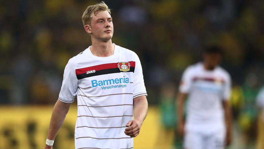 DORTMUND, GERMANY - APRIL 21: Julian Brandt of Bayer Leverkusen looks dejected after the Bundesliga match between Borussia Dortmund and Bayer 04 Leverkusen at Signal Iduna Park on April 21, 2018 in Dortmund, Germany. (Photo by Lars Baron/Bongarts/Getty Images)