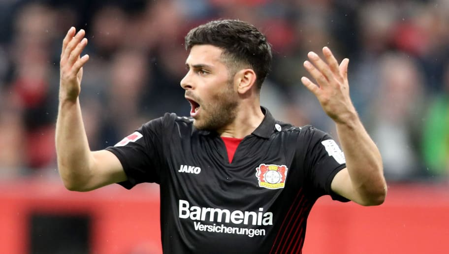 LEVERKUSEN, GERMANY - APRIL 28: Kevin Volland of Leverkusen reacts during the Bundesliga match between Bayer 04 Leverkusen and VfB Stuttgart at BayArena on April 28, 2018 in Leverkusen, Germany. (Photo by Christof Koepsel/Bongarts/Getty Images)