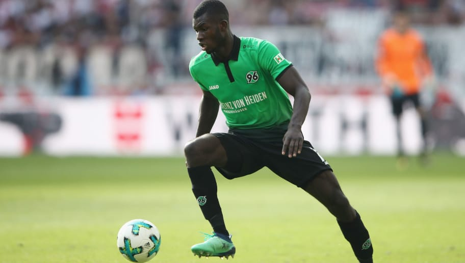 STUTTGART, GERMANY - APRIL 14:  Ihlas Bebou of Hannover controls the ball during the Bundesliga match between VfB Stuttgart and Hannover 96 at Mercedes-Benz Arena on April 14, 2018 in Stuttgart, Germany.  (Photo by Alex Grimm/Bongarts/Getty Images)