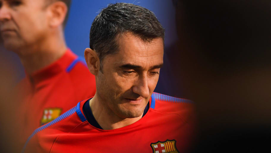 BARCELONA, SPAIN - APRIL 27:  Head coach Ernesto Valverde of FC Barcelona attends a press conference of Andres Iniesta of FC Barcelona at the Ciutat Deportiva Joan Gamper on April 27, 2018 in Barcelona, Spain.  (Photo by David Ramos/Getty Images)