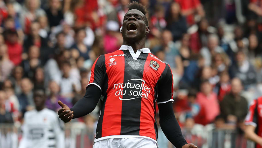 Nice's Italian forward Mario Balotelli reacts during the French L1 football match Nice versus Rennes on April 8, 2018 at the Allianz Riviera Stadium in Nice, southeastern France.   / AFP PHOTO / VALERY HACHE        (Photo credit should read VALERY HACHE/AFP/Getty Images)