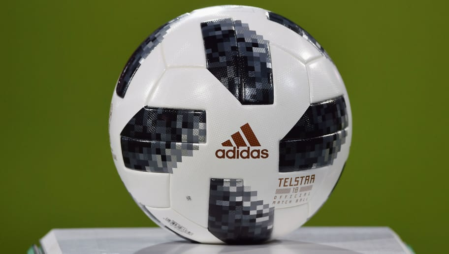 BRAUNSCHWEIG, GERMANY - MARCH 22: The official adidas match ball Telstar 18 is seen on a plinth prior to the 2019 UEFA Under21 European Championship qualifier match between U21 Germany and U21 Israel at Eintracht Stadion on March 22, 2018 in Braunschweig, Germany.  (Photo by Stuart Franklin/Bongarts/Getty Images)