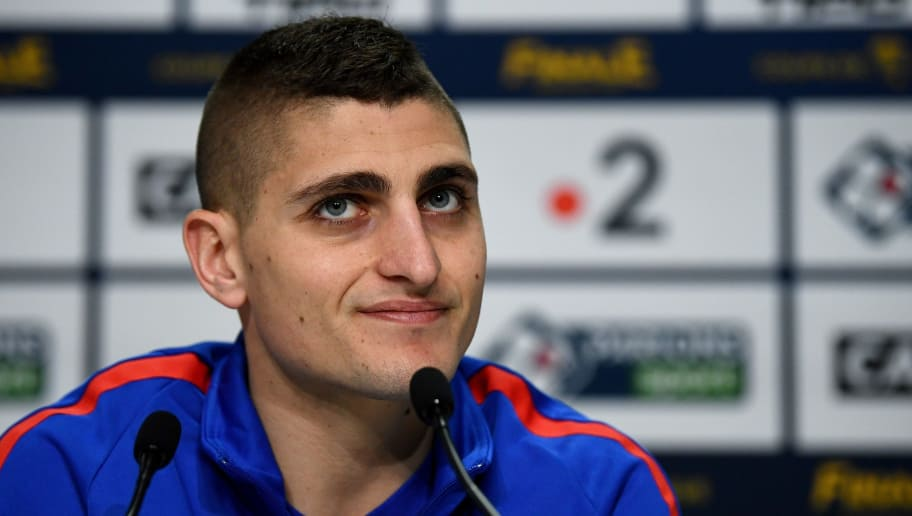 Paris Saint-Germain's Italian midfielder Marco Verratti gives a press conference at the Matmut Atlantique Stadium in Bordeaux, southwestern France, on March 30, 2018, on the eve of the French League Cup final football match between Monaco (ASM) and Paris Saint-Germain (PSG).  / AFP PHOTO / FRANCK FIFE        (Photo credit should read FRANCK FIFE/AFP/Getty Images)