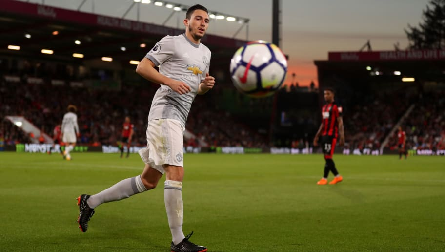 BOURNEMOUTH, ENGLAND - APRIL 18: Matteo Darmian of Manchester United during the Premier League match between AFC Bournemouth and Manchester United at Vitality Stadium on April 18, 2018 in Bournemouth, England. (Photo by Catherine Ivill/Getty Images)