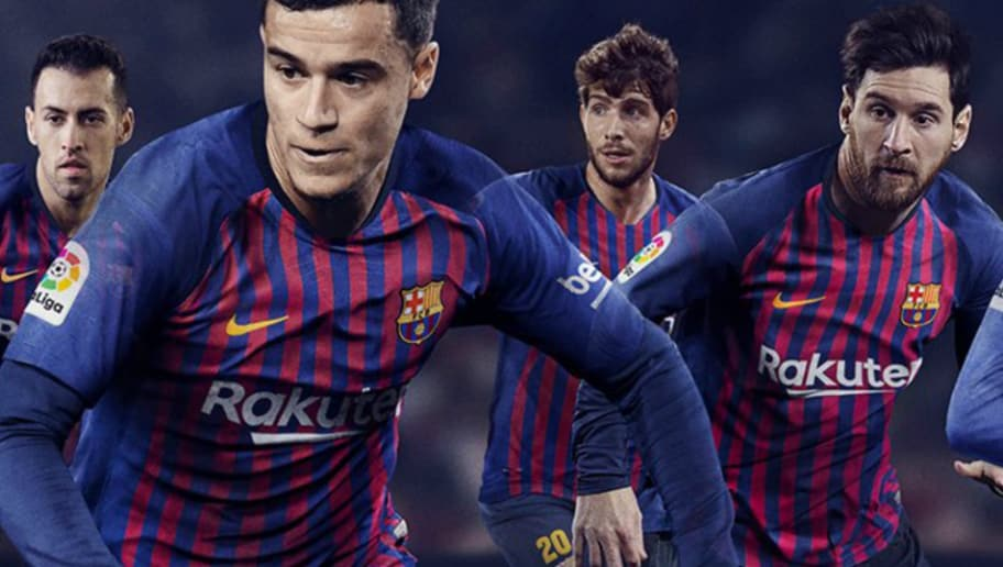 sale retailer fc28c 4314b PHOTO: FC Barcelona Unveil Stunning New Home Kit Ahead of ...