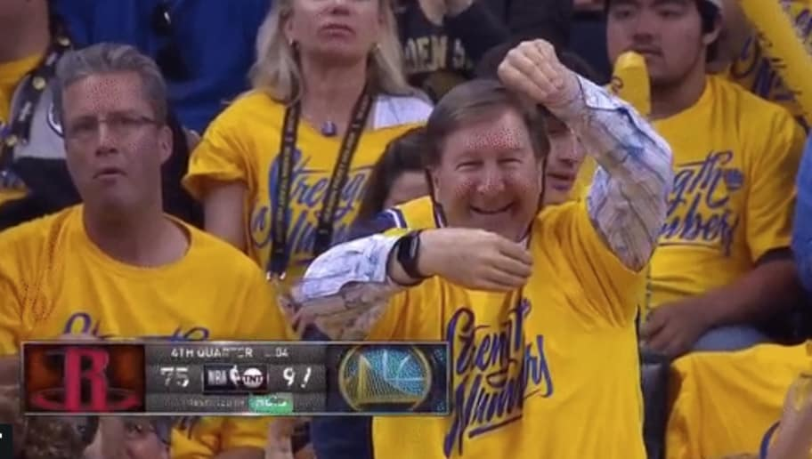 beb16fb4dfe9 VIDEO  Warriors Fan Whips Out Epic Troll on James Harden After Shaun  Livingston Crossover
