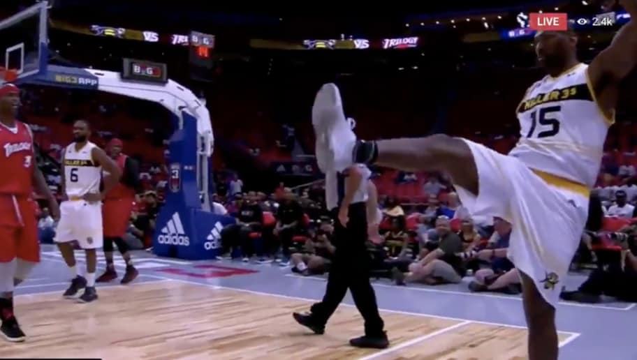 4466c90aa VIDEO  Metta World Peace Immediately Ejected From BIG 3 Game for Punting  Ball Into Stands