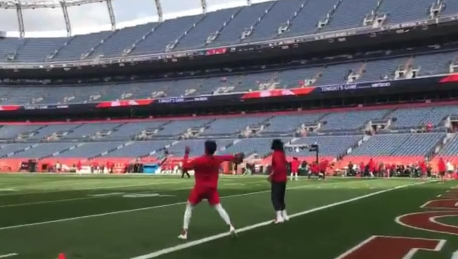 da4108ec6 VIDEO  Patrick Mahomes Uses Flick of the Wrist to Launch Ball About 100  Yards in Denver Air