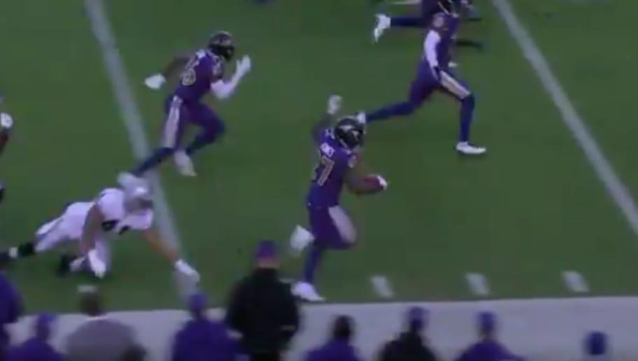 VIDEO Watch Ravens Cyrus Jones Hug Sideline For 70 Yard Punt Return TD