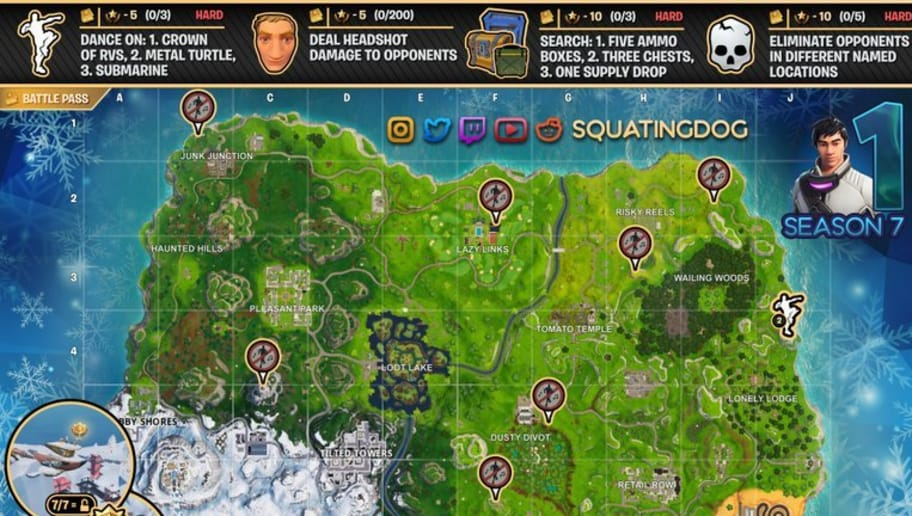 crown of rvs fortnite where to dance on the top of a crown of rvs in season 7 week 1 challenge - how many named locations are there in fortnite season 7