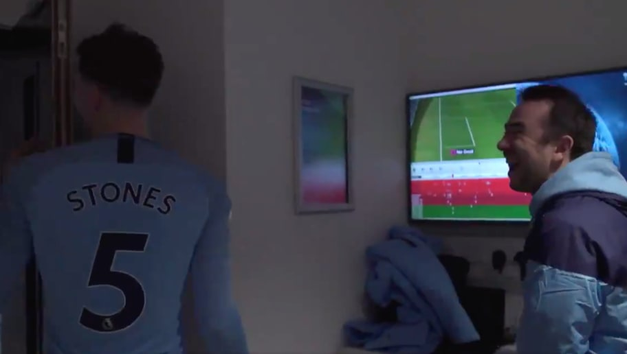 Video: Man City Defender John Stones Reacts to His Goal-Line