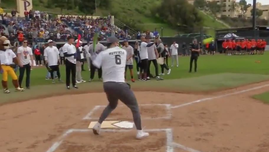 4bd8c3c5805636 VIDEO: Watch Baker Mayfield Hit Little League Home Run in Charity Softball  Game