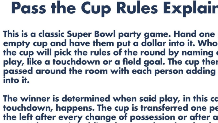 Super Bowl Betting Game Pass the Cup | theduel