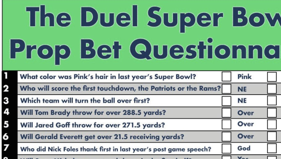photo about Printable Super Bowl Prop Bets referred to as Ideal Printable Tremendous Bowl Prop Guess Sheet for Your Tremendous Bowl