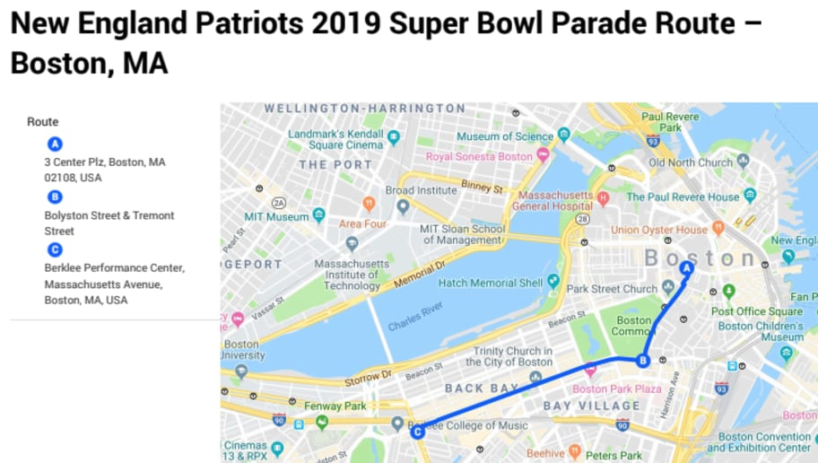 picture about Printable Map of Boston identify Printable Patriots Parade Way 2019 for Tremendous Bowl LIII