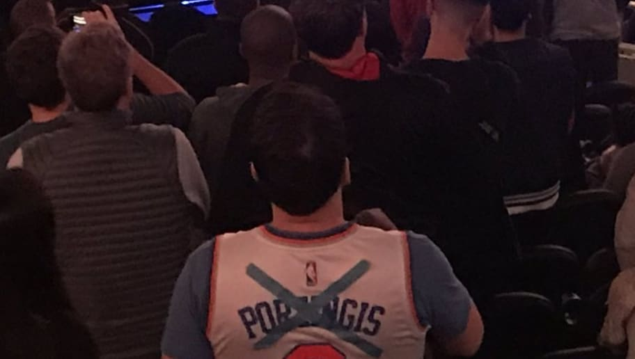 finest selection a5a44 d446d Knicks Fan Hilariously Changes Kristaps Porzingis Jersey ...