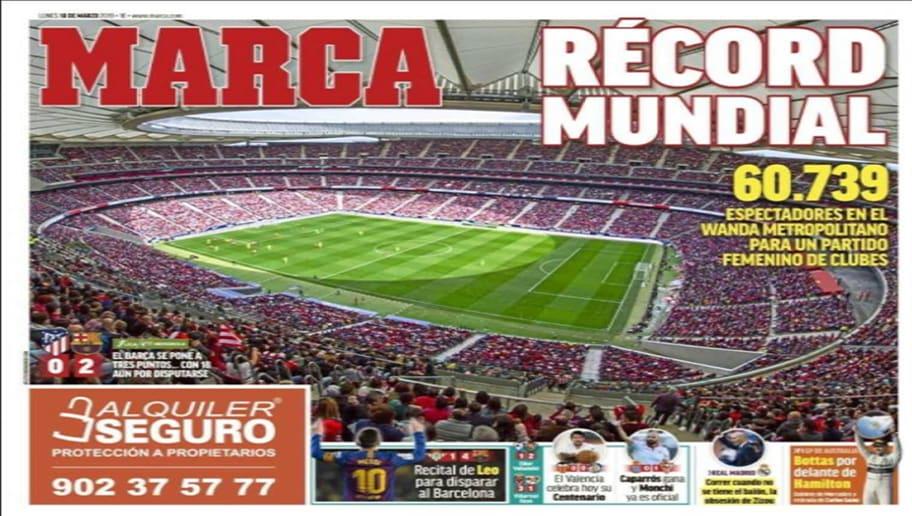 El fútbol femenino sigue rompiendo récords. El partido entre el Atlético  féminas y el Barcelona rompió registro de espectadores con 60.739 personas  ... 0eb182e6d721f