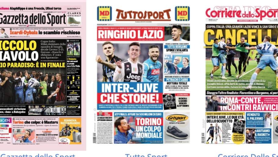La Rassegna Stampa dei principali quotidiani sportivi italiani di giovedì 25 aprile 2019