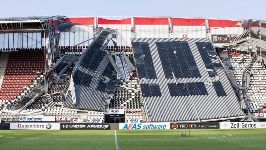 Twitter Reacts as Dutch Club AZ Alkmaar's Stadium Roof Collapses Due to Extreme Wind