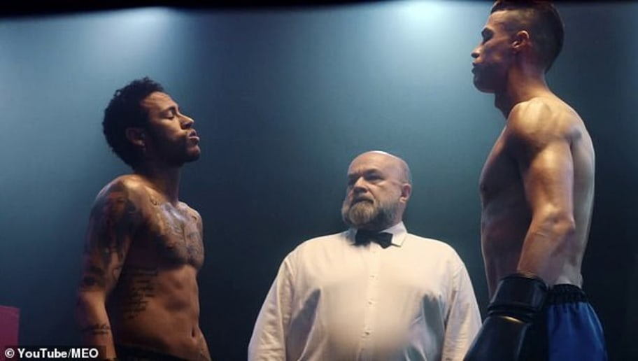 Cristiano Ronaldo and Neymar Square up Against Each Other in a Boxing Ring for a Phone Commercial