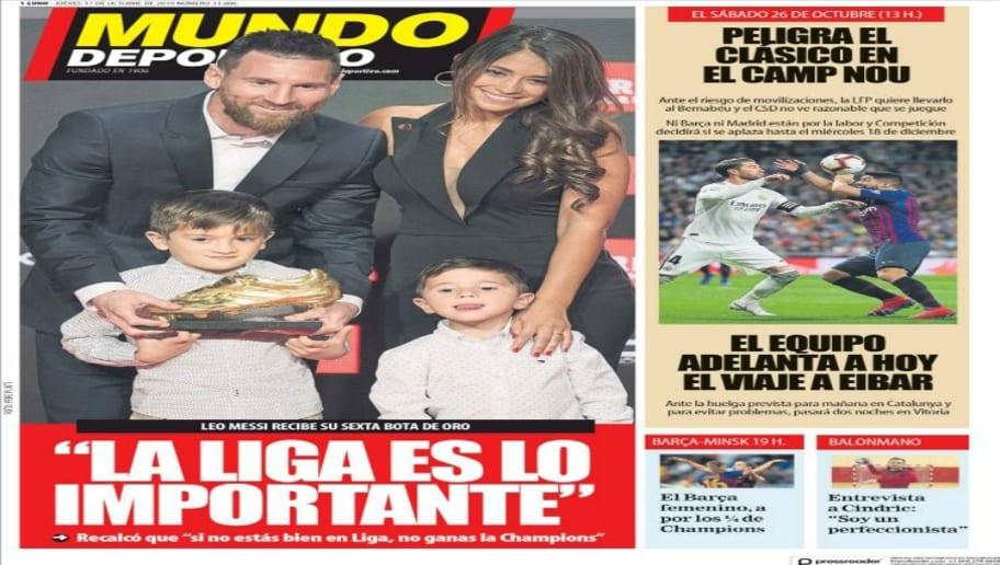 La Bota de Oro de Messi y la incertidumbre del Clásico copan las portadas 2