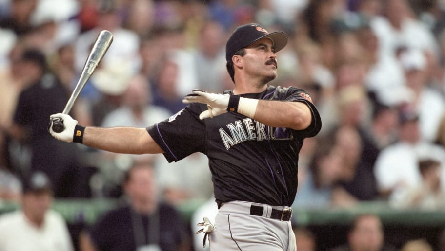 DENVER - JULY 6:  Rafael Palmeiro participates in the Home Run Derby prior to the 69th MLB All-Star Game at Coors Field on July 6, 1998 in Denver, Colorado. (Photo by Brian Bahr/Getty Images)