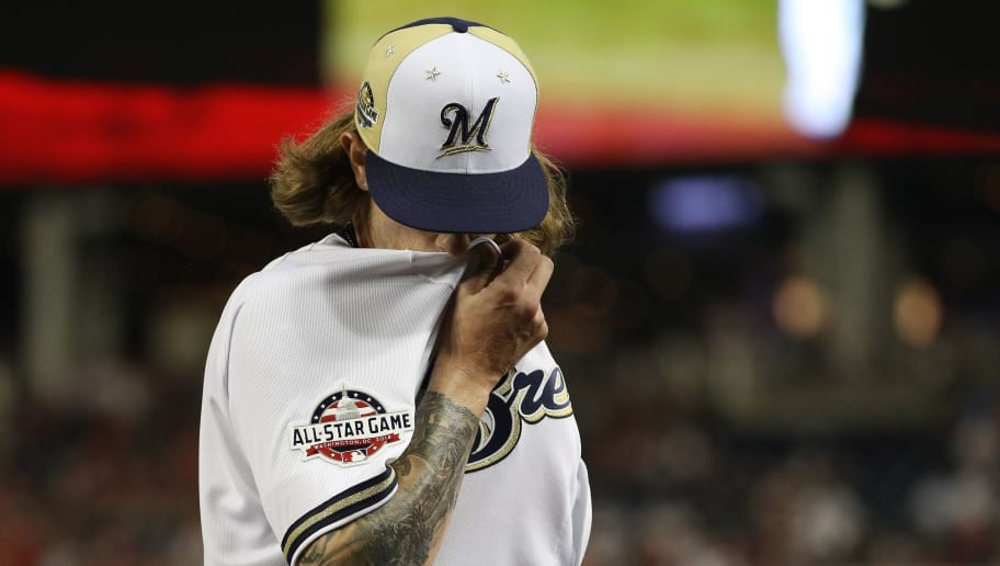 WASHINGTON, DC - JULY 17: Josh Hader #71 of the Milwaukee Brewers and the National League reacts as he is pulled from the game in the eighth inning against the American League during the 89th MLB All-Star Game, presented by Mastercard at Nationals Park on July 17, 2018 in Washington, DC.  (Photo by Patrick Smith/Getty Images)