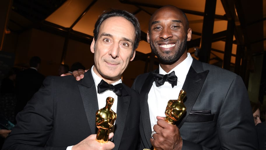 HOLLYWOOD, CA - MARCH 04:  Academy Award Winner for Best Music (Original Score), Alexandre Desplat, and Academy Award Winner for Best Short Film (Animated), Kobe Bryant, attend the 90th Annual Academy Awards Governors Ball at Hollywood & Highland Center on March 4, 2018 in Hollywood, California.  (Photo by Kevork Djansezian/Getty Images)