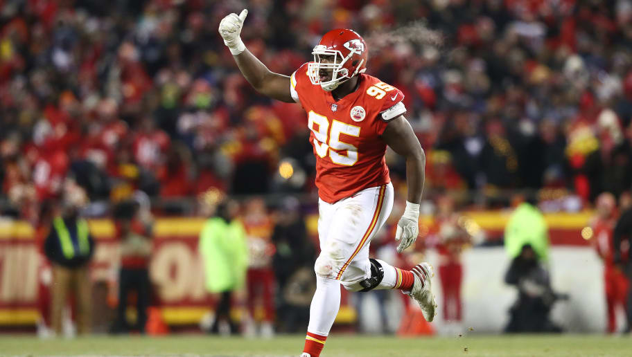 KANSAS CITY, MISSOURI - JANUARY 20: Chris Jones #95 of the Kansas City Chiefs celebrates in the second half against the New England Patriots during the AFC Championship Game at Arrowhead Stadium on January 20, 2019 in Kansas City, Missouri. (Photo by Jamie Squire/Getty Images)
