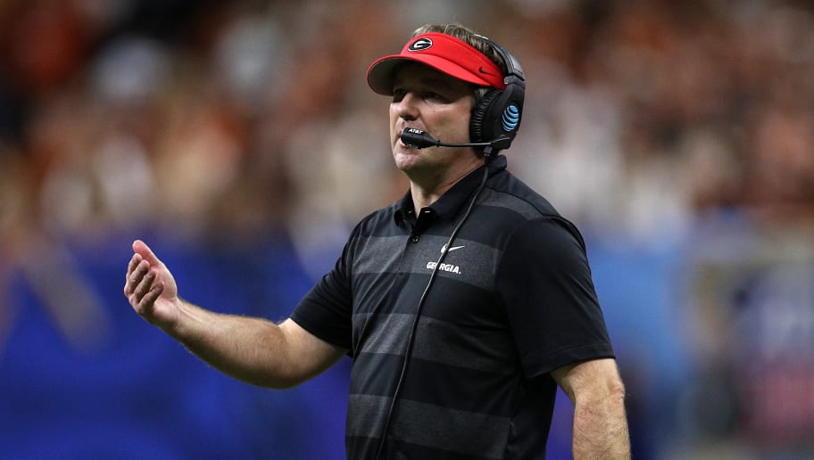 NEW ORLEANS, LOUISIANA - JANUARY 01:  Kirby Smart, head coach of the Georgia Bulldogs looks on during the Allstate Sugar Bowl at Mercedes-Benz Superdome on January 01, 2019 in New Orleans, Louisiana. (Photo by Chris Graythen/Getty Images)