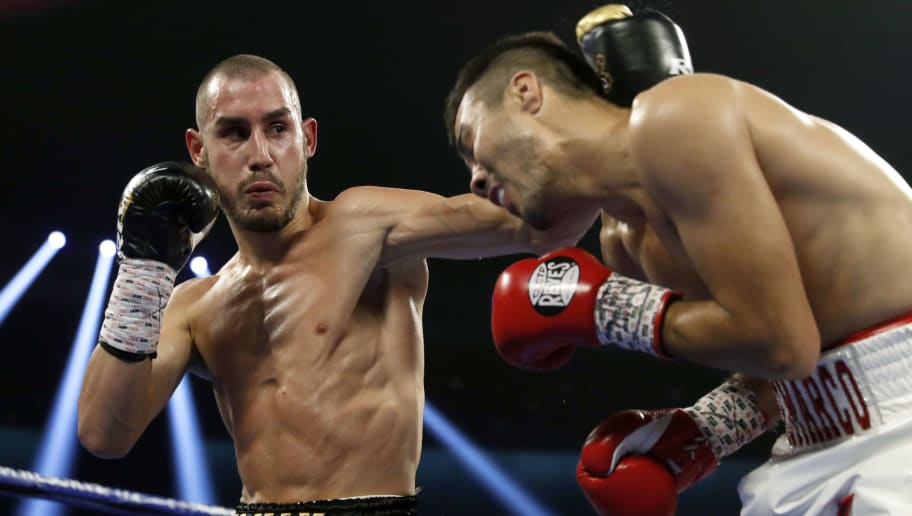 LAS VEGAS, NV - OCTOBER 20: Maxim Dadashev (L) of Russia battles with Antonio de Marco of Mexico during a super lightweight bout at Park Theater at Monte Carlo Resort and Casino in Las Vegas on October 20, 2018 in Las Vegas, Nevada. Dadashev won by unanimous decision. (Photo by Steve Marcus/Getty Images)