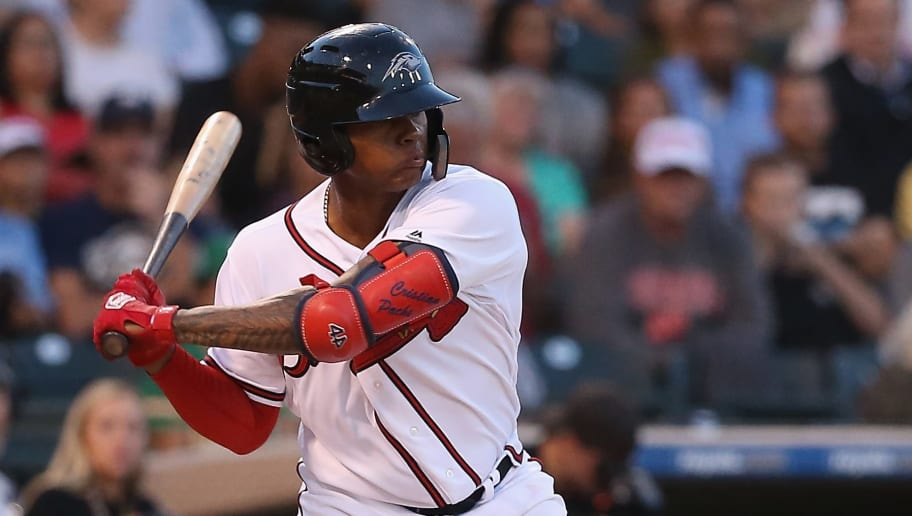 SURPRISE, AZ - NOVEMBER 03:  AFL West All-Star, Cristian Pache #27 of the Atlanta Braves bats during the Arizona Fall League All Star Game at Surprise Stadium on November 3, 2018 in Surprise, Arizona.  (Photo by Christian Petersen/Getty Images)