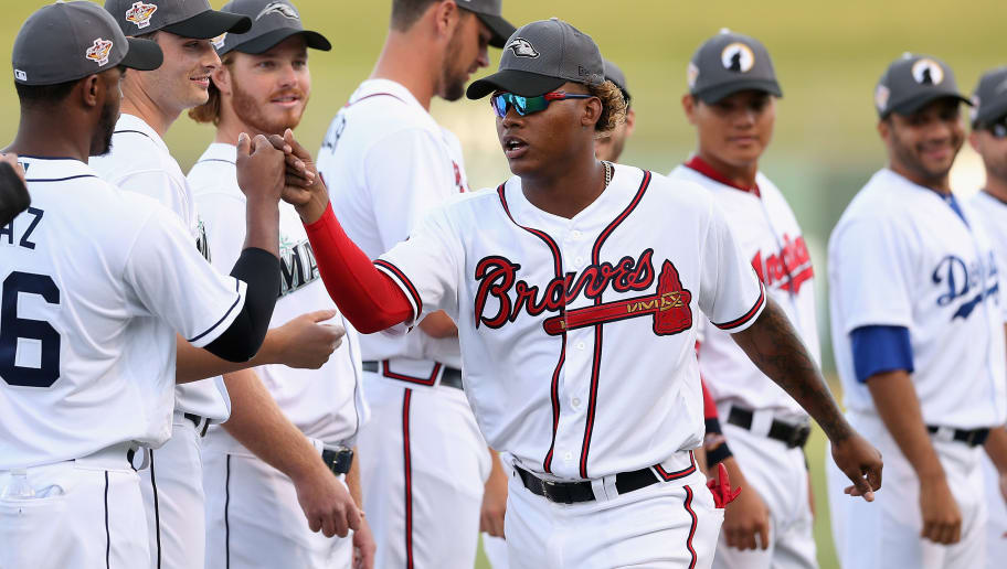 SURPRISE, AZ - NOVEMBER 03:  AFL West All-Star, Cristian Pache #27 of the Atlanta Braves is introduced to the Arizona Fall League All Star Game at Surprise Stadium on November 3, 2018 in Surprise, Arizona.  (Photo by Christian Petersen/Getty Images)