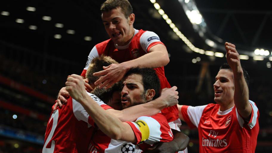 Arsenal's players celebrate after scorin
