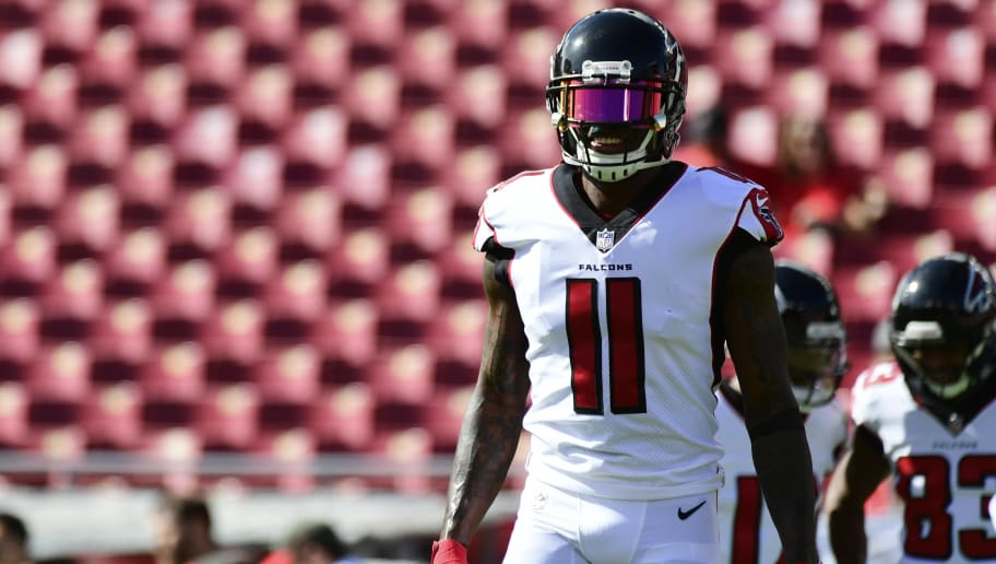 TAMPA, FLORIDA - DECEMBER 30: Julio Jones #11 of the Atlanta Falcons walks back to the line during warmups before a game against the Tampa Bay Buccaneers at Raymond James Stadium on December 30, 2018 in Tampa, Florida. (Photo by Julio Aguilar/Getty Images)