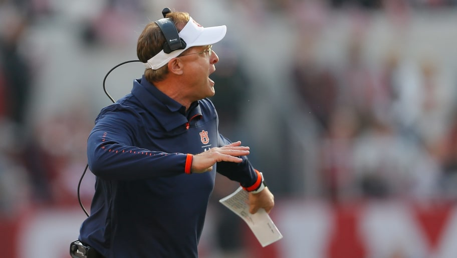 TUSCALOOSA, AL - NOVEMBER 24:  Head coach Gus Malzahn of the Auburn Tigers reacts against the Alabama Crimson Tide at Bryant-Denny Stadium on November 24, 2018 in Tuscaloosa, Alabama.  (Photo by Kevin C. Cox/Getty Images)