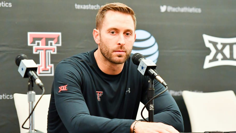 LUBBOCK, TX - NOVEMBER 24: Head coach Kliff Kingsbury of the Texas Tech Red Raiders answers questions during the post game interview after the game against the Baylor Bears on November 24, 2018 at  AT&T Stadium in Arlington, Texas. Baylor defeated Texas Tech 35-24. (Photo by John Weast/Getty Images)