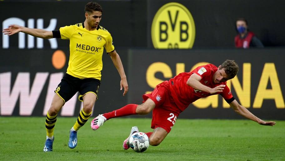 Noch Rivalen - bald Teamkollegen? Achraf Hakimi im Zweikampf mit Thomas Müller