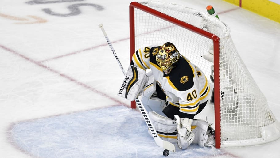 RALEIGH, NORTH CAROLINA - MAY 14: Tuukka Rask #40 of the Boston Bruins tends goal against the Carolina Hurricanes during the first period in Game Three of the Eastern Conference Finals during the 2019 NHL Stanley Cup Playoffs at PNC Arena on May 14, 2019 in Raleigh, North Carolina. (Photo by Grant Halverson/Getty Images)