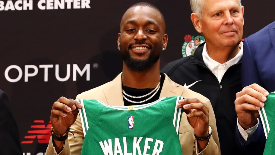 BOSTON, MASSACHUSETTS - JULY 17: Kemba Walker is introduced as a member of the Boston Celtics during a press conference at the Auerbach Center at New Balance World Headquarters on July 17, 2019 in Boston, Massachusetts. (Photo by Tim Bradbury/Getty Images)