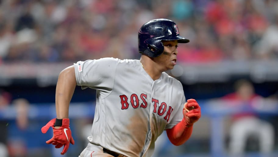 CLEVELAND, OHIO - AUGUST 13: Rafael Devers #11 of the Boston Red Sox runs out a two RBI double during the sixth inning against the Cleveland Indians at Progressive Field on August 13, 2019 in Cleveland, Ohio. (Photo by Jason Miller/Getty Images)