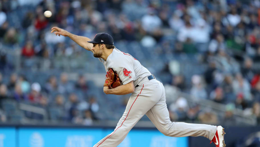 NEW YORK, NEW YORK - APRIL 17:  Nathan Eovaldi #17 of the Boston Red Sox delivers a pitch in the first inning against the New York Yankees at Yankee Stadium on April 17, 2019 in New York City. (Photo by Elsa/Getty Images)